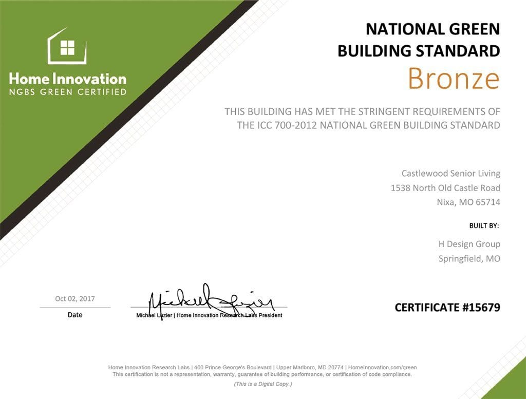 The Castlewood Earns Ngbs Green Certification Oreilly Build Llc